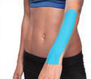 Kinesio tape precut wrist tape application step 2