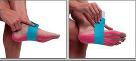 Kinesio tape precut foot tape application step 3