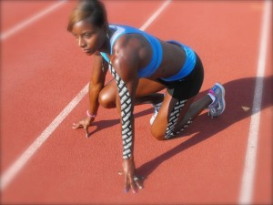 Damu Cherry US Olympic Hurdler wearing RockTape